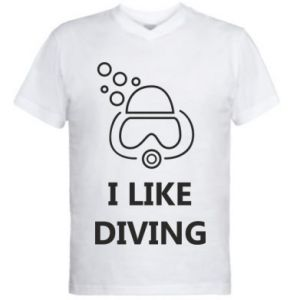 Męska koszulka V-neck I like diving