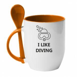 Kubek z ceramiczną łyżeczką I like diving