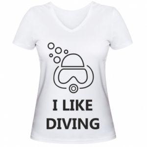 Damska koszulka V-neck I like diving
