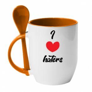 Kubek z ceramiczną łyżeczką I love haters