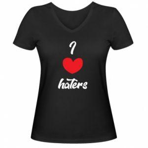 Damska koszulka V-neck I love haters