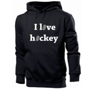 Męska bluza z kapturem I love hockey