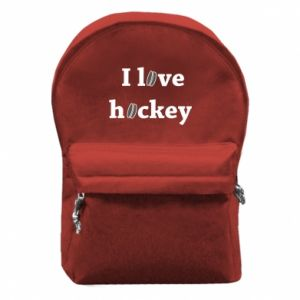 Backpack with front pocket I love hockey