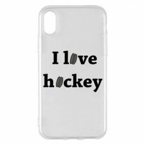 Etui na iPhone X/Xs I love hockey