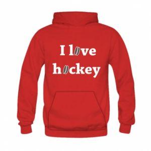 Kid's hoodie I love hockey