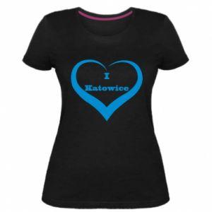 Damska premium koszulka I love Katowice - PrintSalon