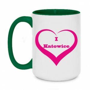 Two-toned mug 450ml I love Katowice
