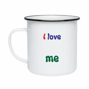 Enameled mug I love me. Color