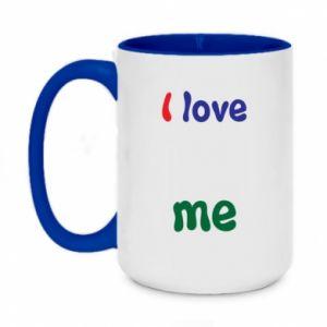 Two-toned mug 450ml I love me. Color