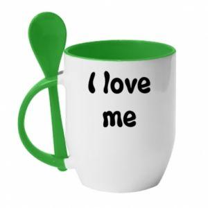 Kubek z ceramiczną łyżeczką I love me
