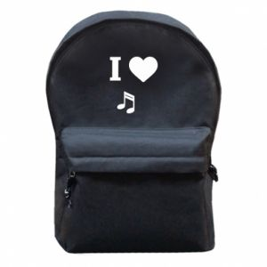 Backpack with front pocket I love music