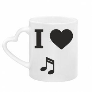Mug with heart shaped handle I love music