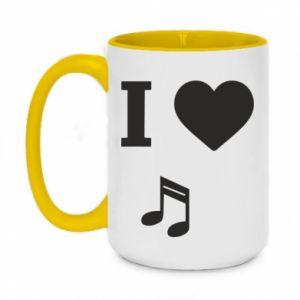 Two-toned mug 450ml I love music
