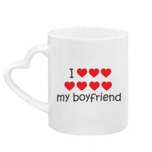 Mug with heart shaped handle I love my boyfriend