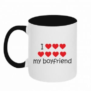 Two-toned mug I love my boyfriend