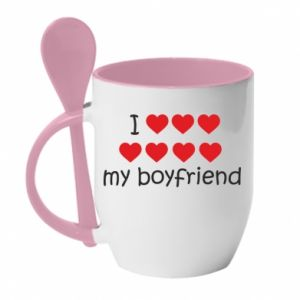 Kubek z ceramiczną łyżeczką I love my boyfriend