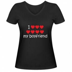 Damska koszulka V-neck I love my boyfriend