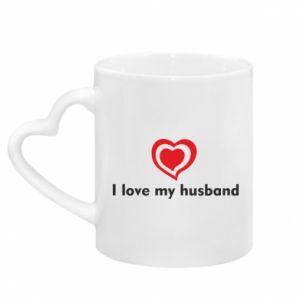 Kubek z uchwytem w kształcie serca I love my husband