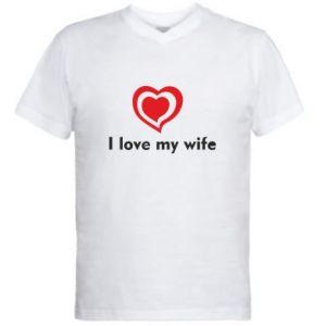 Męska koszulka V-neck I love my wife