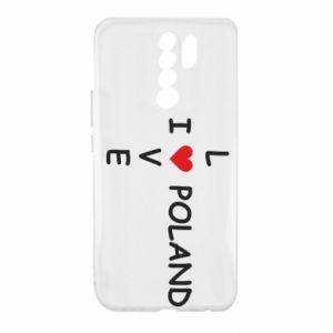 Xiaomi Redmi 9 Case I love Poland crossword
