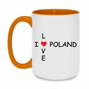 Two-toned mug 450ml I love Poland crossword
