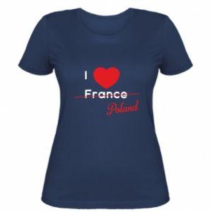Damska koszulka I love Poland, z sercem