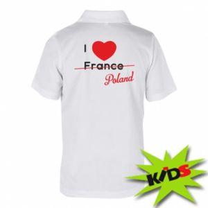 Koszulka polo dziecięca I love Poland, z sercem