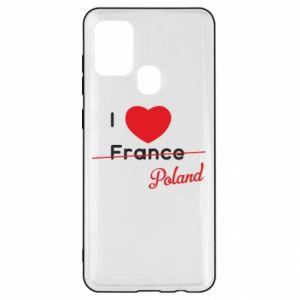 Etui na Samsung A21s I love Poland, z sercem
