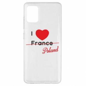 Etui na Samsung A51 I love Poland, z sercem