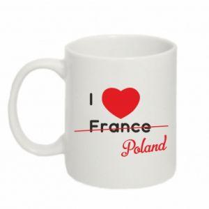 Kubek 330ml I love Poland, z sercem