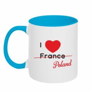 Kubek dwukolorowy I love Poland, z sercem