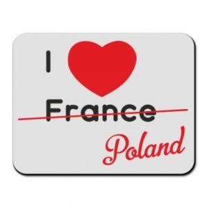 Podkładka pod mysz I love Poland, z sercem