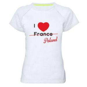 Koszulka sportowa damska I love Poland, z sercem