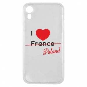 Etui na iPhone XR I love Poland, z sercem