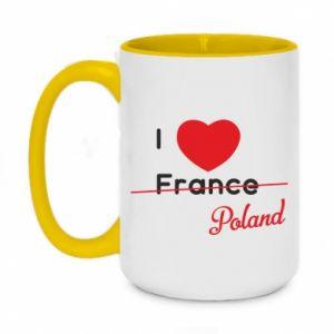 Kubek dwukolorowy 450ml I love Poland, z sercem