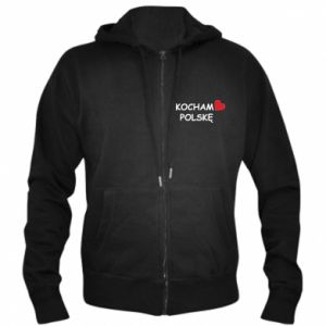 Men's zip up hoodie I love Poland - PrintSalon