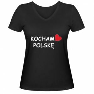 Women's V-neck t-shirt I love Poland - PrintSalon