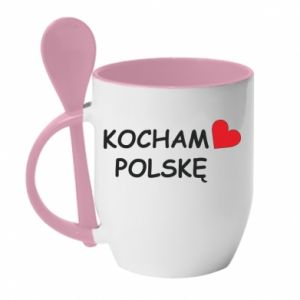 Mug with ceramic spoon I love Poland - PrintSalon