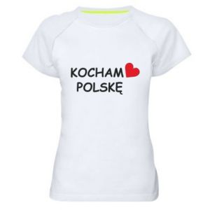 Women's sports t-shirt I love Poland - PrintSalon