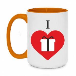Two-toned mug 450ml I love presents
