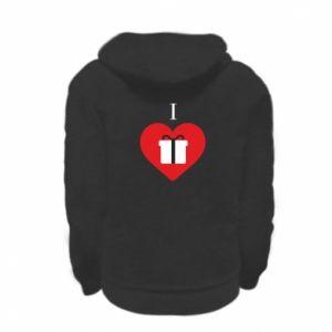 Kid's zipped hoodie % print% I love presents