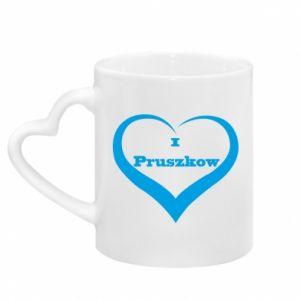 Mug with heart shaped handle I love Pruszkow