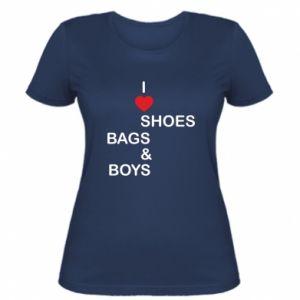 Damska koszulka I love shoes, bags, boys
