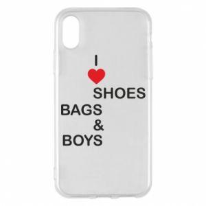 Etui na iPhone X/Xs I love shoes, bags, boys