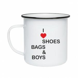 Kubek emaliowane I love shoes, bags, boys