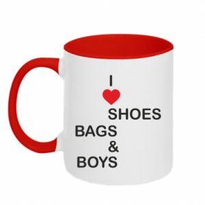 Kubek dwukolorowy I love shoes, bags, boys