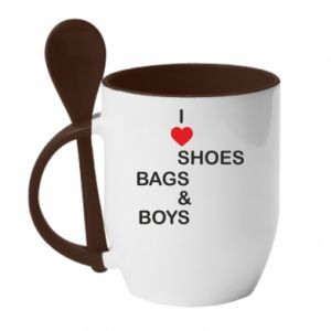 Kubek z ceramiczną łyżeczką I love shoes, bags, boys