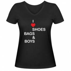 Damska koszulka V-neck I love shoes, bags, boys