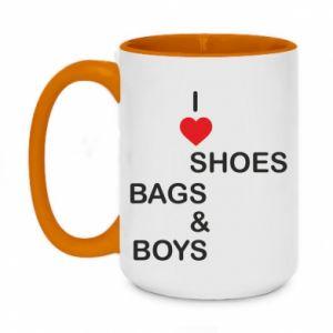Kubek dwukolorowy 450ml I love shoes, bags, boys