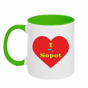 "Two-toned mug ""I love Sopot"" with symbol"
